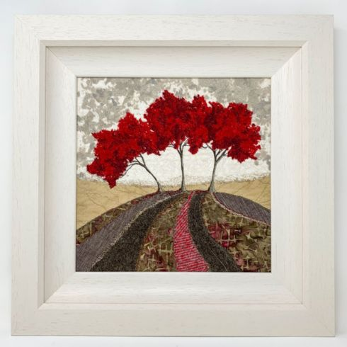 in klöver | ni design - Eileen McNulty - 'Red Trees' Original Textile & Embroidery